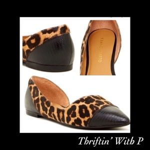 Franco Sarato D'Orsay Leopard Calf Hair Flat
